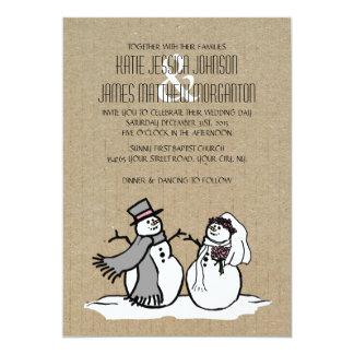 Winter Snowmen Bride & Groom Wedding Custom Invites