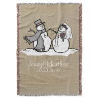 Winter Snowmen Bride & Groom Wedding Throw
