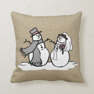 Winter Snowmen Bride & Groom Wedding Throw Pillow