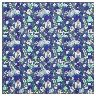 Winter Snowmen Seasonal Custom Fabric