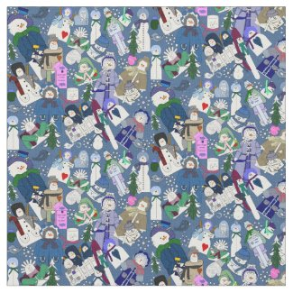 Winter Snowmen & Snow-lady Seasonal Custom Fabric