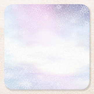 Winter snowy day background - 3D render Square Paper Coaster