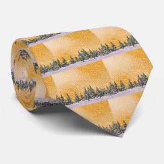 Winter snowy landscape neck tie