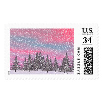 Winter snowy landscape postage