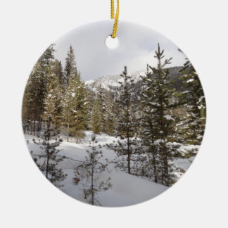 Winter Snowy Mountain Scene in Montana Ceramic Ornament