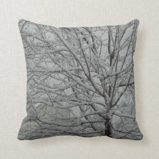 winter snowy tree branches throw pillow