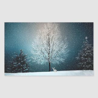 Winter Snowy Trees and Bunny Holiday Stickers
