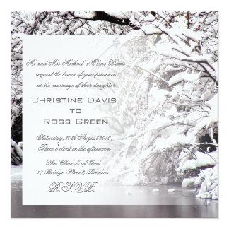 """Winter snowy wedding invitation 5.25"""" square invitation card"""