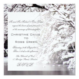 Winter snowy wedding invitation