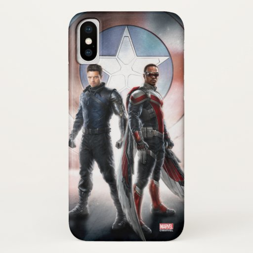 Winter Soldier & The Falcon in Front of Shield iPhone X Case