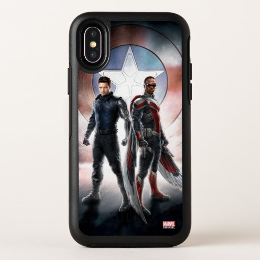 Winter Soldier & The Falcon in Front of Shield OtterBox Symmetry iPhone X Case
