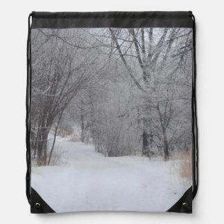 Winter Solitude Drawstring Backpack