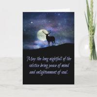 Winter Solstice Blessings Card Elk and Moon