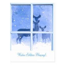 Winter Solstice Blessings Deer Postcard