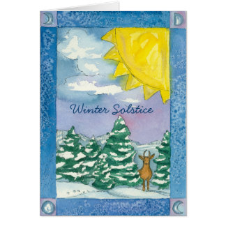 Winter Solstice Deer Snow Landscape Watercolor Card