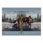 Winter Solstice - Deer Winter Scene Greeting Cards