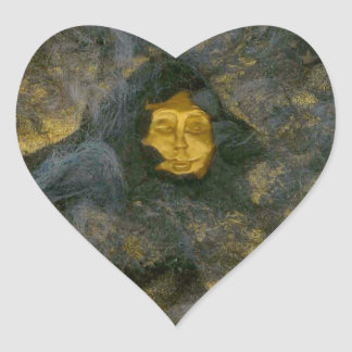 Winter Solstice Eve - collage Heart Stickers