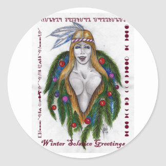 Winter Solstice Greetings Round Stickers