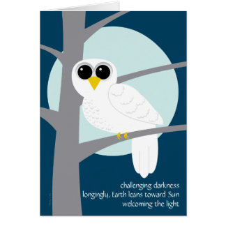 Winter Solstice Haiku Snowy Owl Card