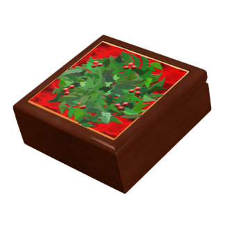 Winter Solstice Holly Wreath Gift Box