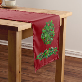 Winter Solstice Holly Wreath Table Runner