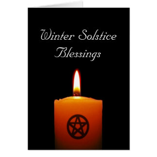 Winter Solstice Pagan Candle with Pentacle Card