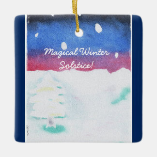Winter Solstice Snowy Scene Yule Ceramic Ornament