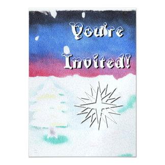 Winter Solstice Snowy Scene Yule Christmas Card