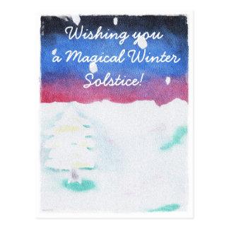 Winter Solstice Snowy Scene Yule Postcard