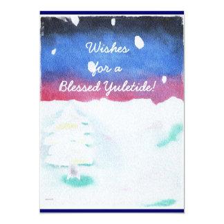 Winter Solstice Snowy Scene Yule Single Page Greet Card