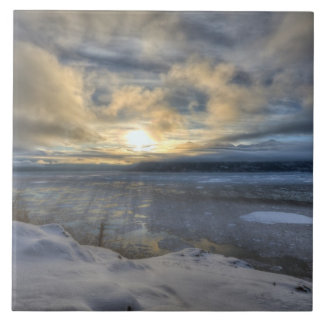 Winter Solstice Turnagain Arm Large Square Tile