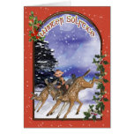 Winter Solstice Woodland Elf Riding A Fawn Cards