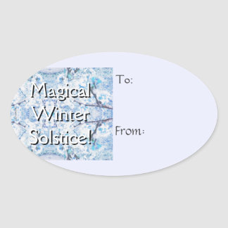 Winter Solstice Yule Snow Christmas Gift Tag Oval Stickers