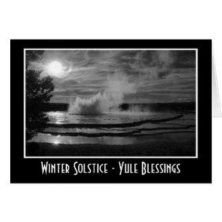 Winter Solstice Yule with waves splashing water Greeting Card