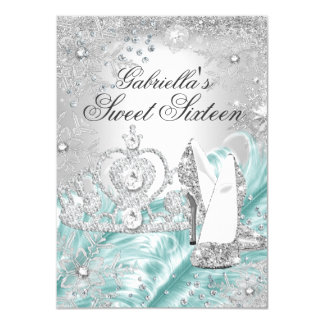 Winter Sparkle Snowflake Blue Sweet 16 Invite