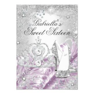 Winter Sparkle Snowflake Pink Sweet 16 Invite