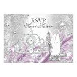 Winter Sparkle Snowflake Pink Sweet 16 RSVP 3.5x5 Paper Invitation Card