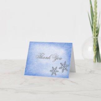 Winter Sparkle Snowflakes Blue Thank You card