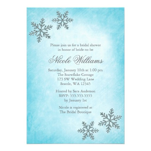 winter sparkle snowflakes teal bridal shower custom With winter wedding shower invitations