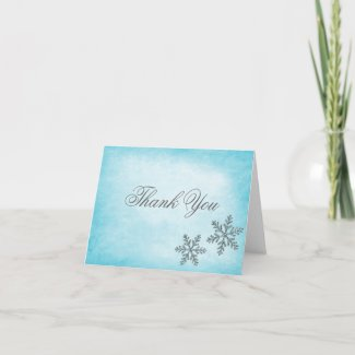 Winter Sparkle Snowflakes Teal Thank You card