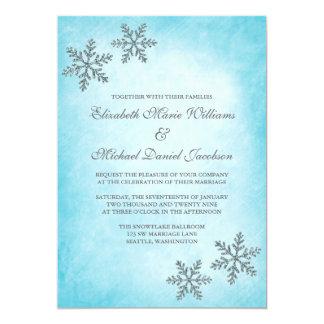 Winter Sparkle Snowflakes Teal Wedding Invitations