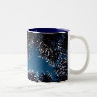 Winter sparkles / Ice on Pine Needles Two-Tone Coffee Mug