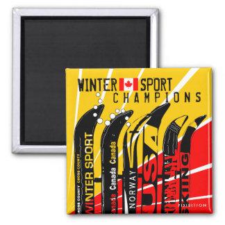 Winter Sport Champions Snowblade CA Square Magnet