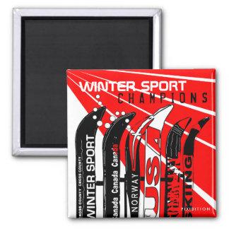 Winter Sport Champions Snowblade Square Magnet
