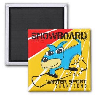 Winter Sport Champions Snowboard Astro Dog Magnet