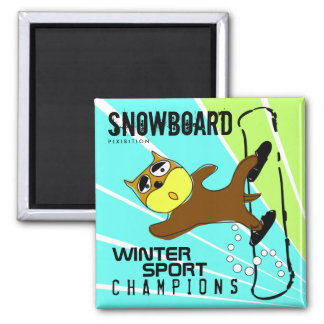 Winter Sport Champions Snowboard Brown Dog Magnet