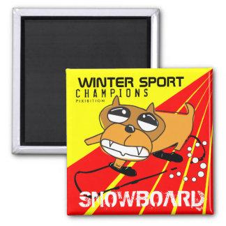 Winter Sport Champions Snowboard Mad Dog Magnet