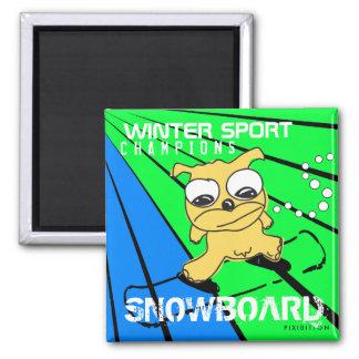 Winter Sport Champions Snowboard Yellow Dog Magnet