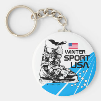 Winter Sport USA Team Ski Boot Keychain