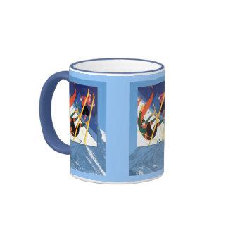 Winter sports - A bit of a tumble Ringer Coffee Mug